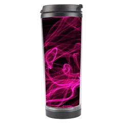 Abstract Pink Smoke On A Black Background Travel Tumbler by Nexatart