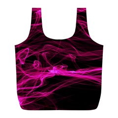 Abstract Pink Smoke On A Black Background Full Print Recycle Bags (l)  by Nexatart
