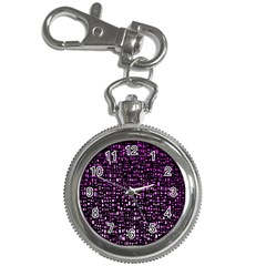 Purple Denim Background Pattern Key Chain Watches by Nexatart