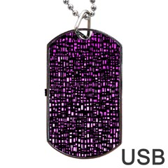 Purple Denim Background Pattern Dog Tag Usb Flash (two Sides)