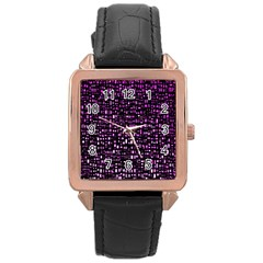 Purple Denim Background Pattern Rose Gold Leather Watch