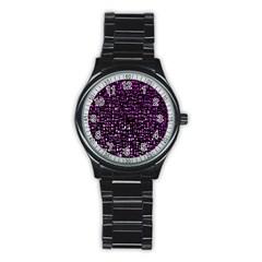 Purple Denim Background Pattern Stainless Steel Round Watch by Nexatart