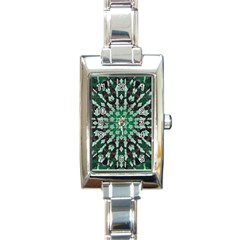 Abstract Green Patterned Wallpaper Background Rectangle Italian Charm Watch by Nexatart