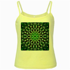 Abstract Green Patterned Wallpaper Background Yellow Spaghetti Tank by Nexatart