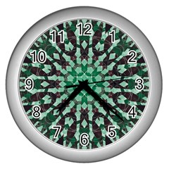Abstract Green Patterned Wallpaper Background Wall Clocks (silver)  by Nexatart