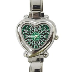Abstract Green Patterned Wallpaper Background Heart Italian Charm Watch