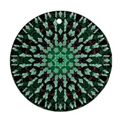 Abstract Green Patterned Wallpaper Background Round Ornament (two Sides)