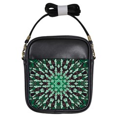 Abstract Green Patterned Wallpaper Background Girls Sling Bags by Nexatart