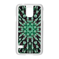 Abstract Green Patterned Wallpaper Background Samsung Galaxy S5 Case (white) by Nexatart