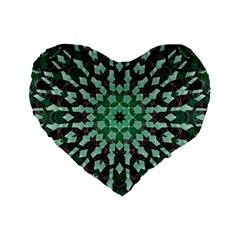 Abstract Green Patterned Wallpaper Background Standard 16  Premium Flano Heart Shape Cushions by Nexatart