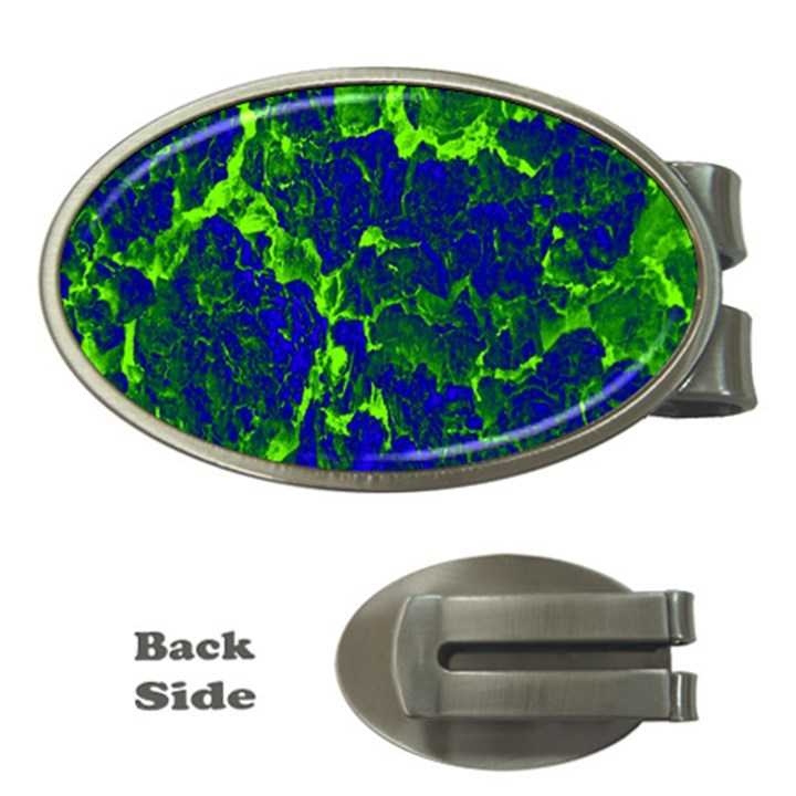 Abstract Green And Blue Background Money Clips (Oval)