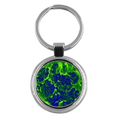 Abstract Green And Blue Background Key Chains (round)