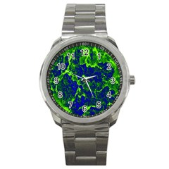 Abstract Green And Blue Background Sport Metal Watch by Nexatart