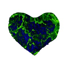 Abstract Green And Blue Background Standard 16  Premium Flano Heart Shape Cushions