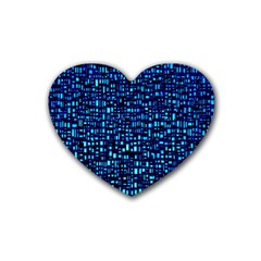 Blue Box Background Pattern Rubber Coaster (heart)  by Nexatart