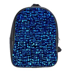 Blue Box Background Pattern School Bags(large)  by Nexatart