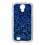 Blue Box Background Pattern Samsung GALAXY S4 I9500/ I9505 Case (White) Front