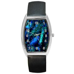 Underwater Abstract Seamless Pattern Of Blues And Elongated Shapes Barrel Style Metal Watch by Nexatart