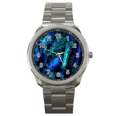 Underwater Abstract Seamless Pattern Of Blues And Elongated Shapes Sport Metal Watch by Nexatart