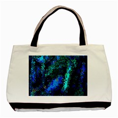 Underwater Abstract Seamless Pattern Of Blues And Elongated Shapes Basic Tote Bag