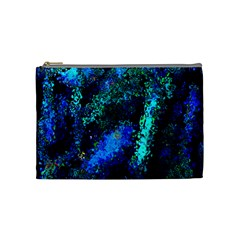 Underwater Abstract Seamless Pattern Of Blues And Elongated Shapes Cosmetic Bag (medium)