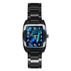 Underwater Abstract Seamless Pattern Of Blues And Elongated Shapes Stainless Steel Barrel Watch