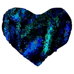 Underwater Abstract Seamless Pattern Of Blues And Elongated Shapes Large 19  Premium Flano Heart Shape Cushions by Nexatart