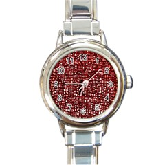 Red Box Background Pattern Round Italian Charm Watch