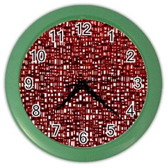 Red Box Background Pattern Color Wall Clocks by Nexatart