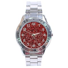 Red Box Background Pattern Stainless Steel Analogue Watch