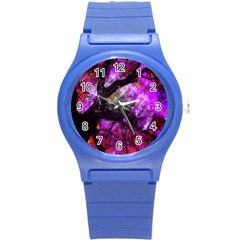 Pink Abstract Tree Round Plastic Sport Watch (s)