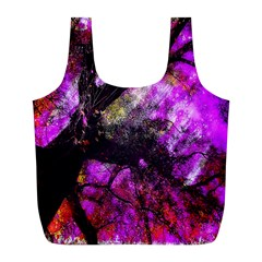 Pink Abstract Tree Full Print Recycle Bags (l)  by Nexatart
