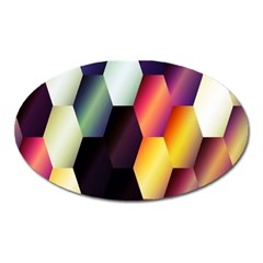Colorful Hexagon Pattern Oval Magnet by Nexatart