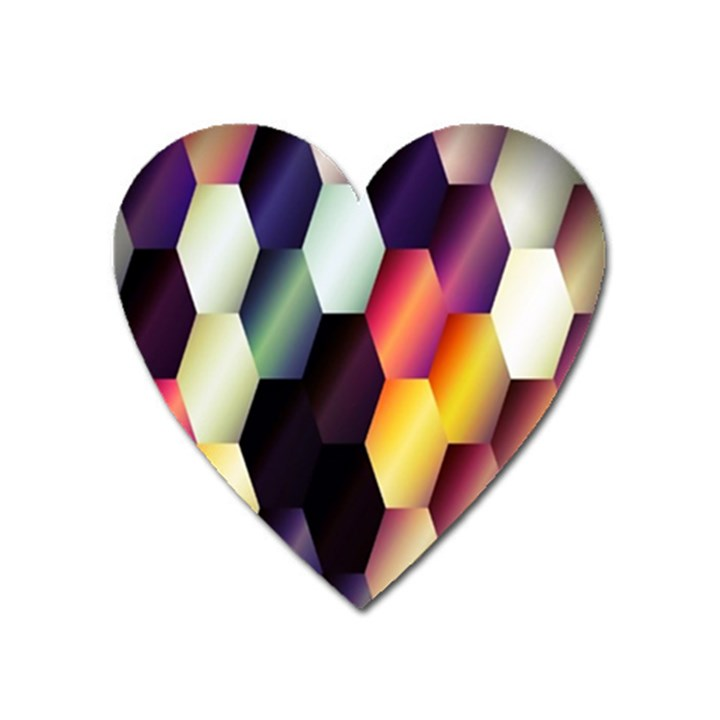 Colorful Hexagon Pattern Heart Magnet