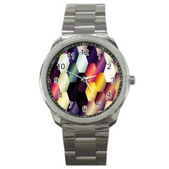 Colorful Hexagon Pattern Sport Metal Watch