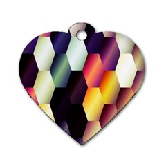 Colorful Hexagon Pattern Dog Tag Heart (one Side)