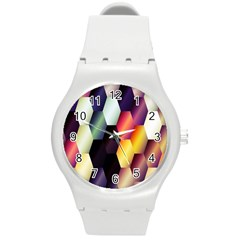 Colorful Hexagon Pattern Round Plastic Sport Watch (m)