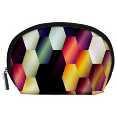 Colorful Hexagon Pattern Accessory Pouches (large)