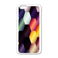 Colorful Hexagon Pattern Apple Iphone 6/6s White Enamel Case