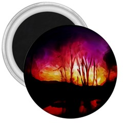 Fall Forest Background 3  Magnets by Nexatart