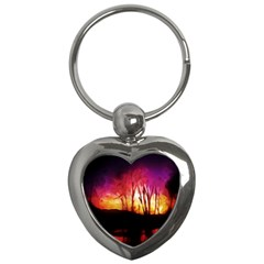 Fall Forest Background Key Chains (heart)  by Nexatart