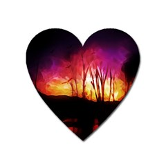 Fall Forest Background Heart Magnet by Nexatart
