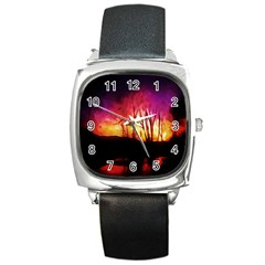 Fall Forest Background Square Metal Watch by Nexatart