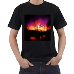 Fall Forest Background Men s T Shirt (black) (two Sided) by Nexatart