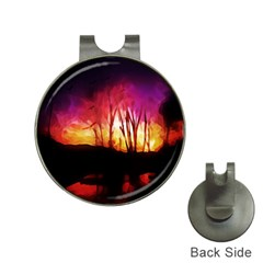 Fall Forest Background Hat Clips With Golf Markers