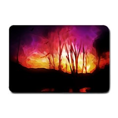 Fall Forest Background Small Doormat  by Nexatart