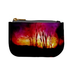 Fall Forest Background Mini Coin Purses by Nexatart