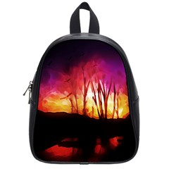 Fall Forest Background School Bags (small)  by Nexatart