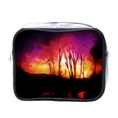 Fall Forest Background Mini Toiletries Bags by Nexatart