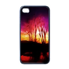 Fall Forest Background Apple Iphone 4 Case (black)